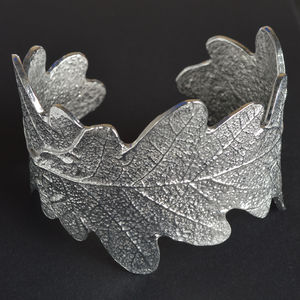 Pewter Oak Leaf Cuff - women's jewellery