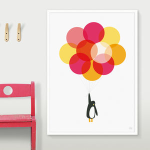 'Mr Penguin With Pink Balloons' Print - children's room
