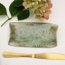 Green Floral Ceramic Butter Tray