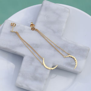 Hammered Moon Chain Charm Earrings