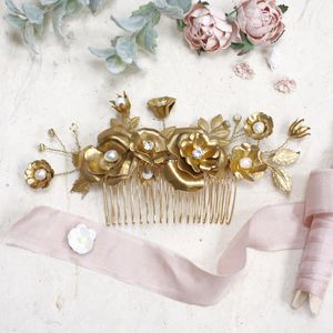 Isolde Rose And Pearl Gold Bridal Hair Comb
