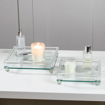 Square Glass Decorative Tray