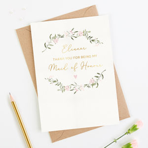 Thank You Maid Of Honour Card Personalised Foil