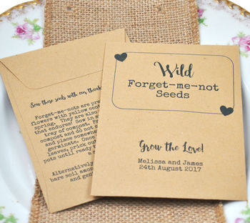 Forget Me Not Seeds Recycled Vintage Wedding Favour