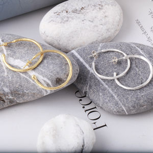 Brushed Texture Hoop Earrings - best gifts for her