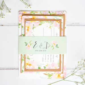 Pastel Meadow Wedding Invite Sample Pack - save the date cards
