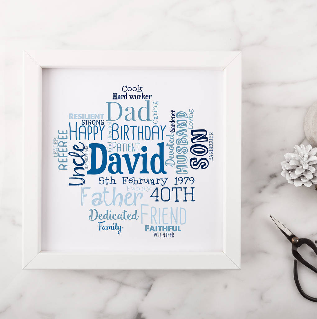 Personalised 40th Birthday Gift For Him