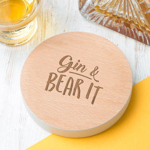 'Gin And Bear It' Quote Drinks Coaster - personalised