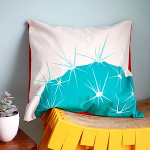 Hand Printed Spiky Turquoise Cotton Cactus Cushion - cushions
