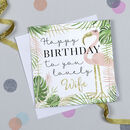 'Lovely Wife' Flamingo Birthday Card