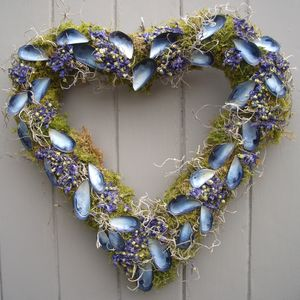 Mussel Shell And Malva Flower Heart Wreath