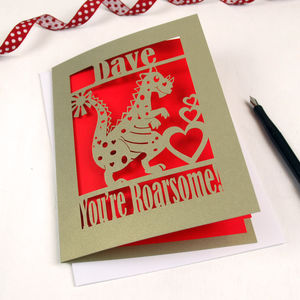 Personalised Papercut Dinosaur Valentines Card - valentine's cards