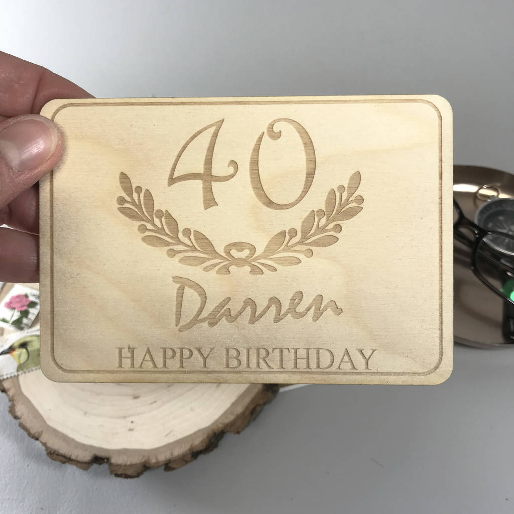 Personalised 40th Birthday Wooden Postcard