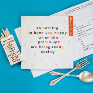 Children's Dinner Table Activity Book And Pencil Set