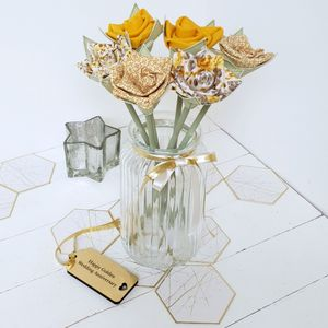 50th Golden Anniversary Flowers In Vintage Jar And Tag - artificial flowers