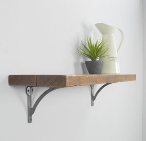 Reclaimed Wood Shelf With Iron Brackets - living room