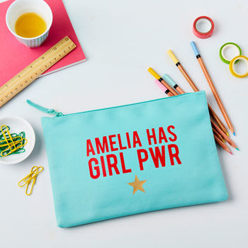Girls Personalised Girl Power Large Pencil Case