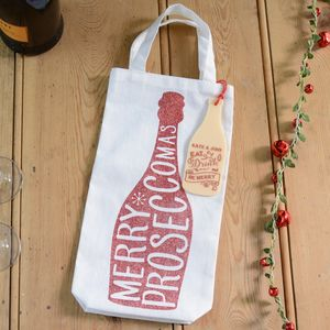 Merry Christmas Prosecco Personalised Bottle Gift Bag - gift tags & labels