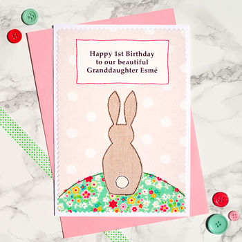 Girls 1st Birthday Card - Personalise for a special granddaughter, daughter, sister etc