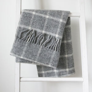 Pure New Wool Grey Windowpane Pram Blanket