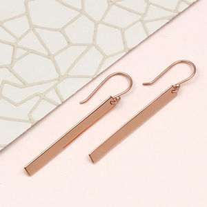 Rose Gold Contemporary Bar Earrings - earrings