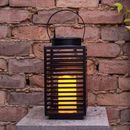 Black Metal Solar Candle Lantern