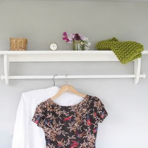 Vintage Styled Wooden Clothes Rail With Top Shelf - living room