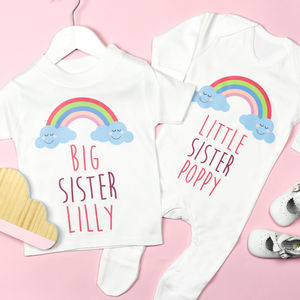 Personalised Big And Little Sister Rainbow Set - clothing