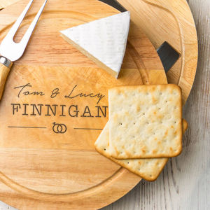 Personalised Engraved Wedding Images Cheeseboard Set