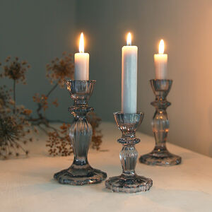 Grey Ruffle Edge Glass Candlestick