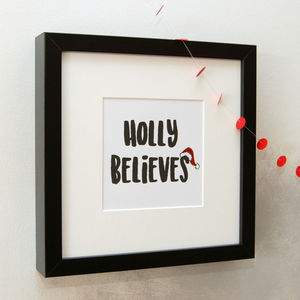 'Believe' Embellished Print In Black Frame - christmas home