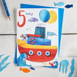Age Five Boat Birthday Card