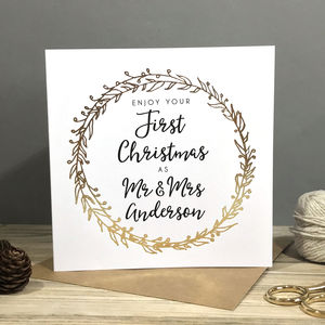'Your First Married Christmas' Foiled Card - first christmas cards