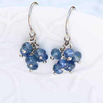 Blue Sapphire Earrings In 18ct White Gold