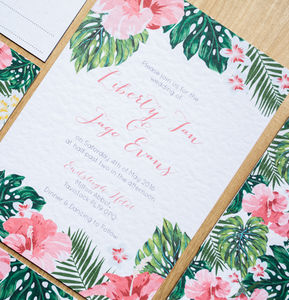 Tropical Hawaiian Wedding Invitation - invitations