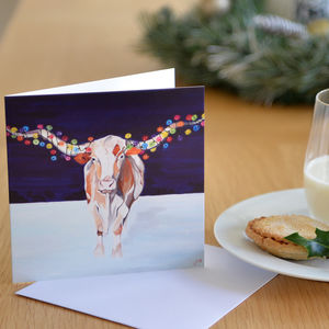 Cow With Fairy Lights Christmas Card - cards & wrap