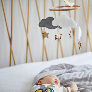 Personalised Cloud Star And Moon Baby Mobile - dreamland nursery
