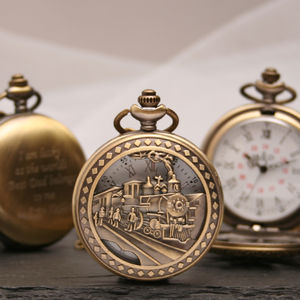 Personalised Bronze Pocket Watch With Train Design - watches
