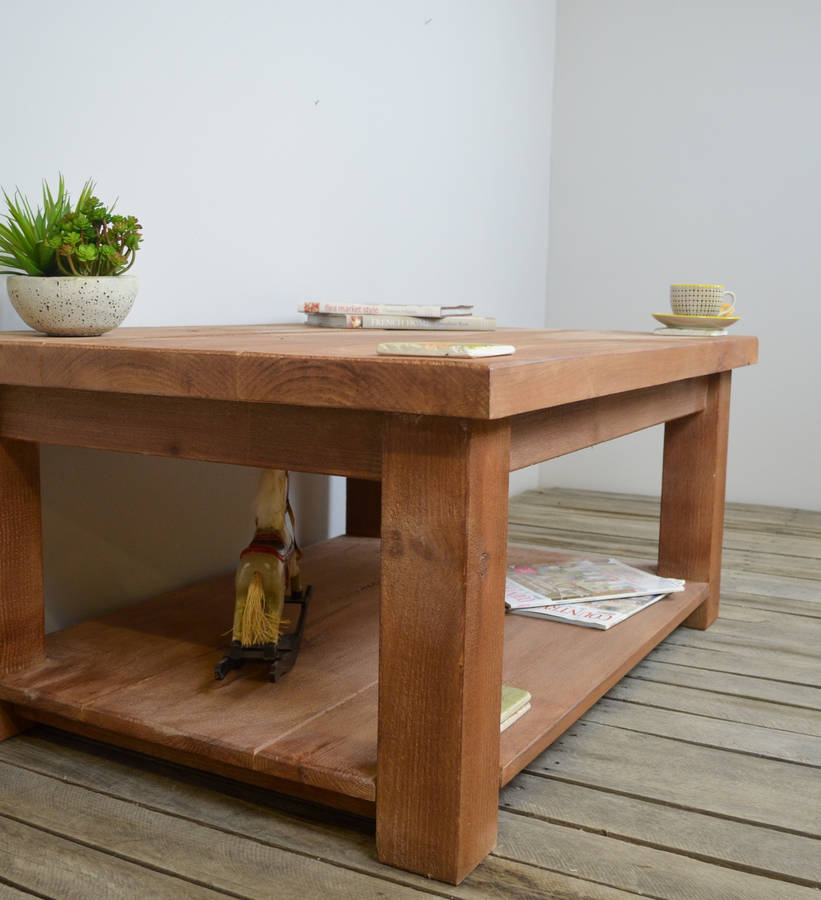 Chunky Wood Coffee Table With Shelf By The Orchard