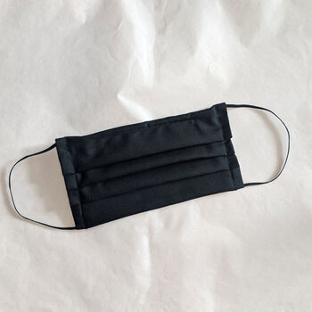 Black Pleated Cotton Face Mask With Filter Pocket
