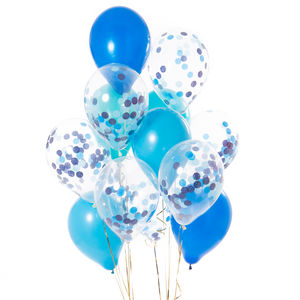 Pack Of 14 Peacock Blue Confetti Balloons - outdoor decorations