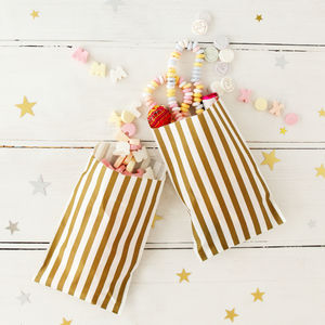 Gold Stripy Sweet Bags With Stickers - room decorations
