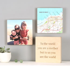 Personalised Map Location Photo Wall Art Blocks For Her