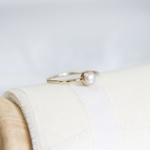 Odessa Ring // Pearl And Gold Stacking Ring - 30th anniversary: pearl