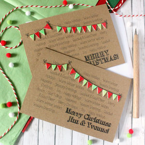 Merry Christmas Card, Christmas Bunting Card - cards