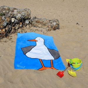 Steve The Seagull Beach Towel - bathroom