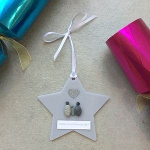 Personalised Pebble Baby's First Christmas Decoration