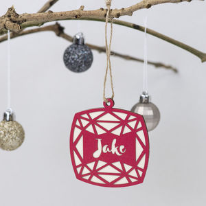 Geometric Square Christmas Decoration - personalised