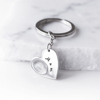 Personalised Heart Fingerprint Key Ring