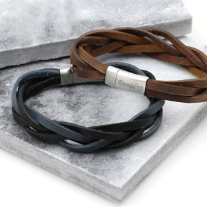 Men's Personalised Soft Plaited Leather Bracelet